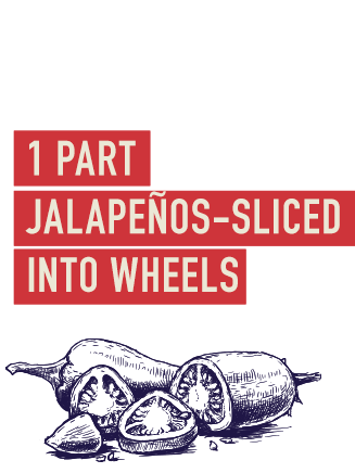 1 Parts jalapeños-sliced into wheels