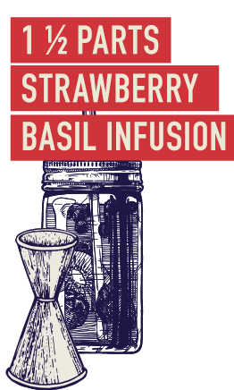 1 ½ Parts strawberry basil infusion