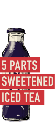 5 parts Sweetened Iced Tea (or Southern Peach Tea)